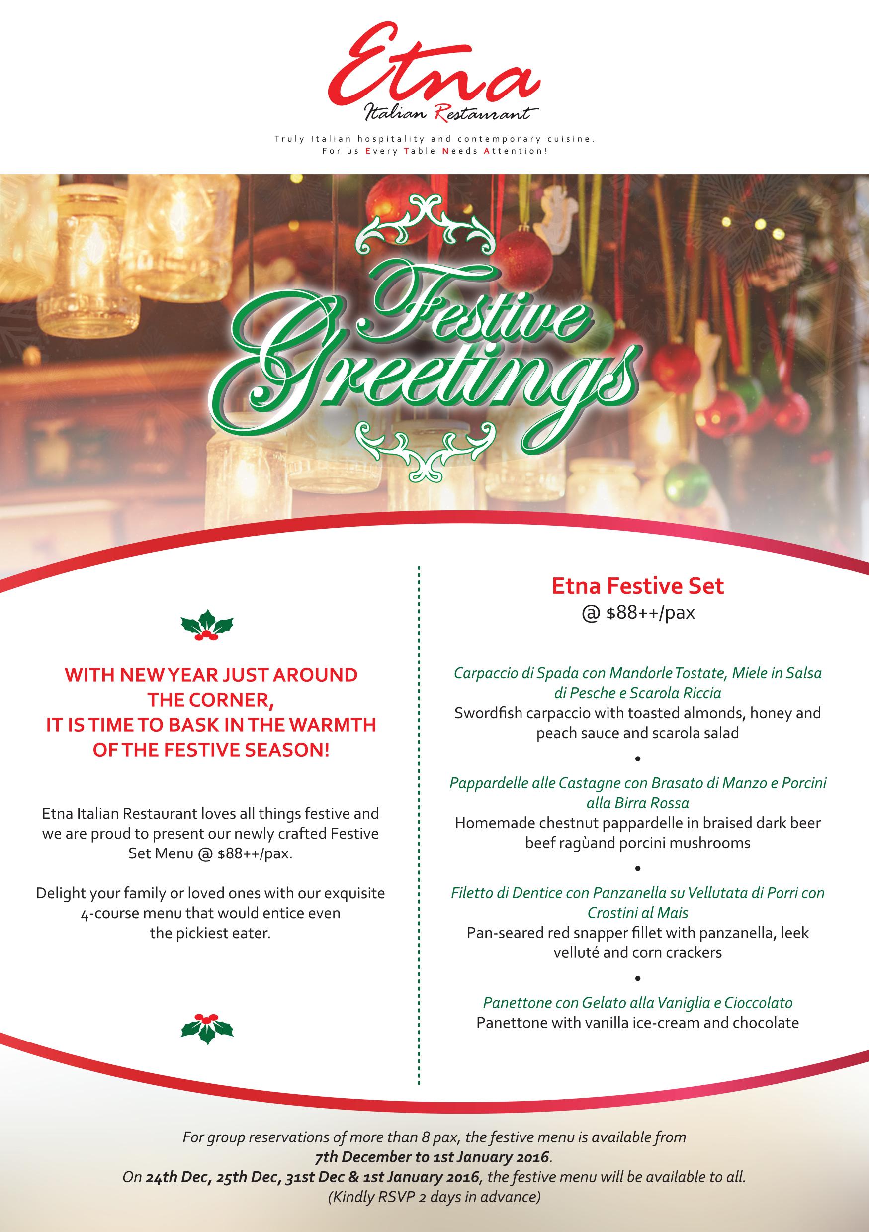 Best Italian Food Singapore   Current Promotions - Etna Italian ...