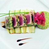 etna-fresh-seared-yellowfin-tuna-loin-breaded-with-herbs-served-with-broccoli-flan-and-red-onions